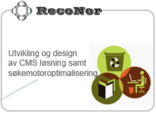 cms l�sning for reconor as, samt custom designet side